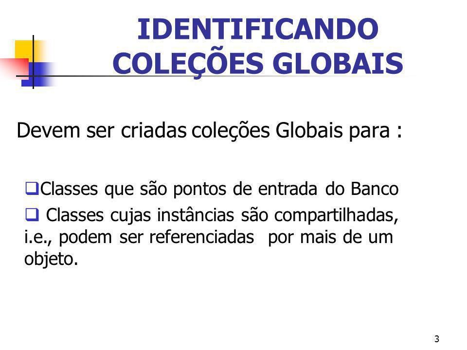 3 IDENTIFICANDO COLEÇÕES GLOBAIS Devem ser criadas coleções Globais para : Classes que são pontos de entrada do Banco Classes cujas instâncias são com