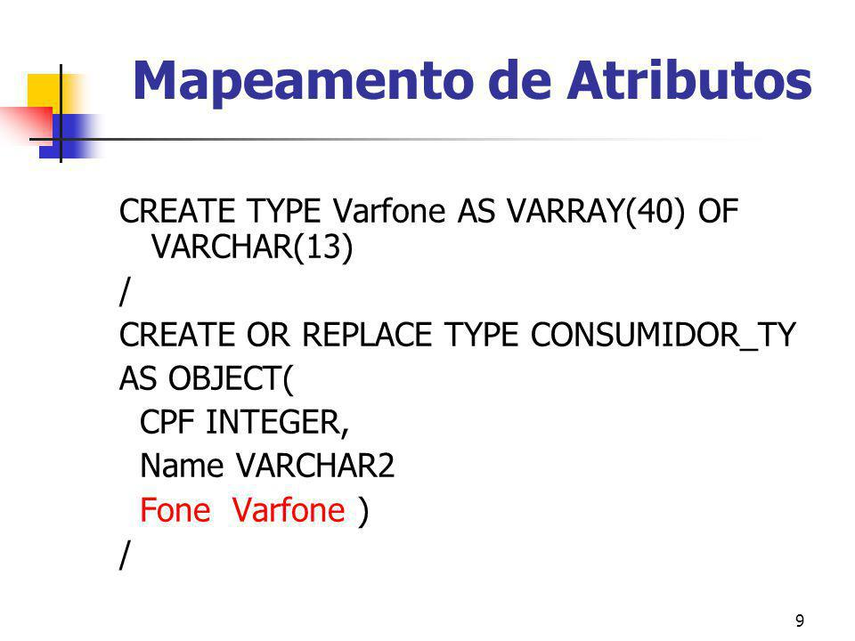 9 Mapeamento de Atributos CREATE TYPE Varfone AS VARRAY(40) OF VARCHAR(13) / CREATE OR REPLACE TYPE CONSUMIDOR_TY AS OBJECT( CPF INTEGER, Name VARCHAR2 Fone Varfone ) /