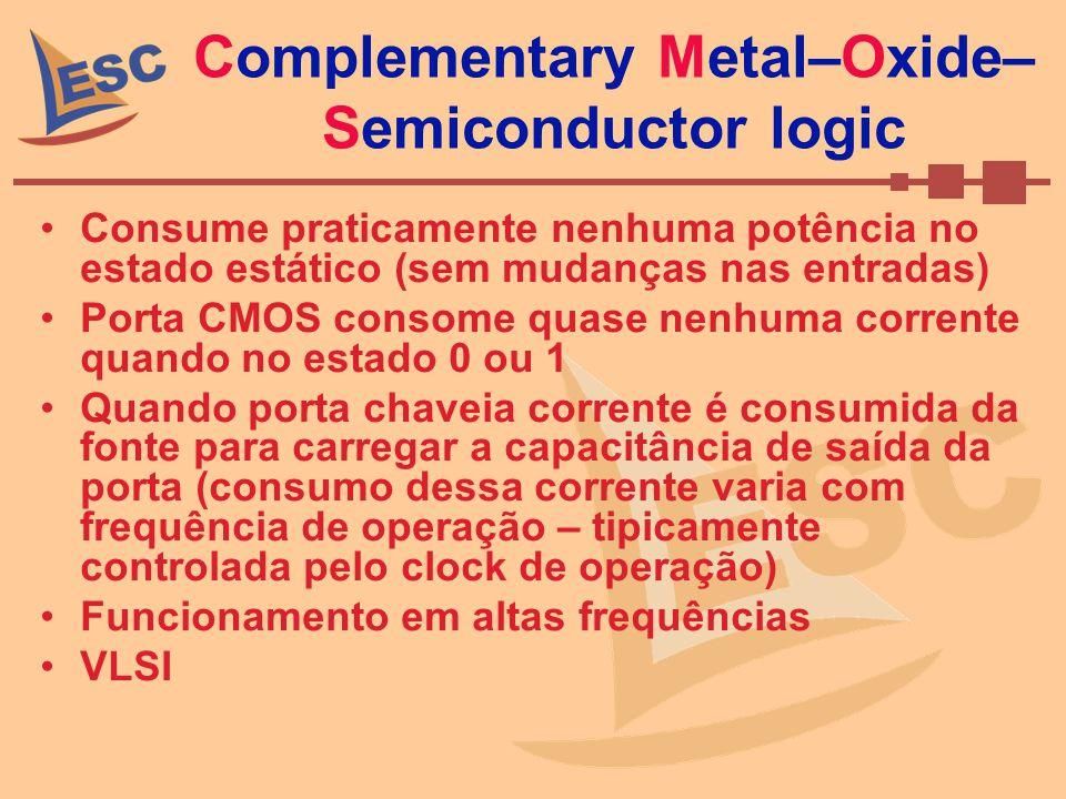Complementary Metal–Oxide– Semiconductor logic Consume praticamente nenhuma potência no estado estático (sem mudanças nas entradas) Porta CMOS consome