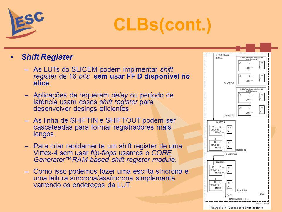 CLBs(cont.) Shift Register –As LUTs do SLICEM podem implmentar shift register de 16-bits sem usar FF D disponível no slice. –Aplicações de requerem de