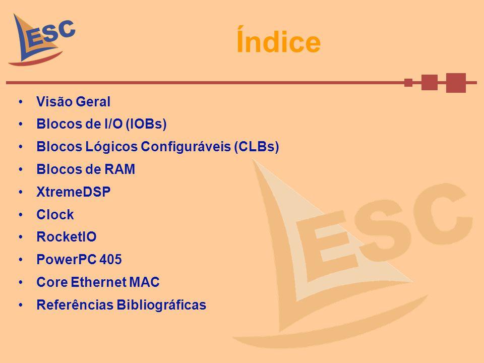 CLBs(cont.) Look-up Tables –Geradores de função implementados com 4 entradas.