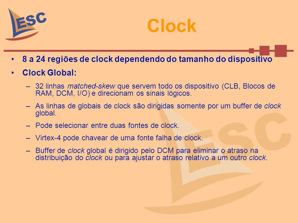 Clock 8 a 24 regiões de clock dependendo do tamanho do dispositivo Clock Global: –32 linhas matched-skew que servem todo os dispositivo (CLB, Blocos d