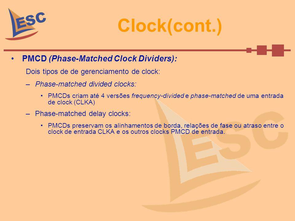 Clock(cont.) PMCD (Phase-Matched Clock Dividers): Dois tipos de de gerenciamento de clock: –Phase-matched divided clocks: PMCDs criam até 4 versões fr