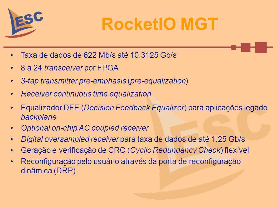 RocketIO MGT Taxa de dados de 622 Mb/s até 10.3125 Gb/s 8 a 24 transceiver por FPGA 3-tap transmitter pre-emphasis (pre-equalization) Receiver continu