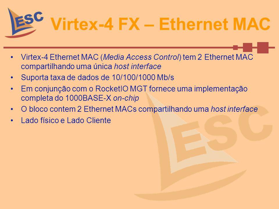 Virtex-4 FX – Ethernet MAC Virtex-4 Ethernet MAC (Media Access Control) tem 2 Ethernet MAC compartilhando uma única host interface Suporta taxa de dad