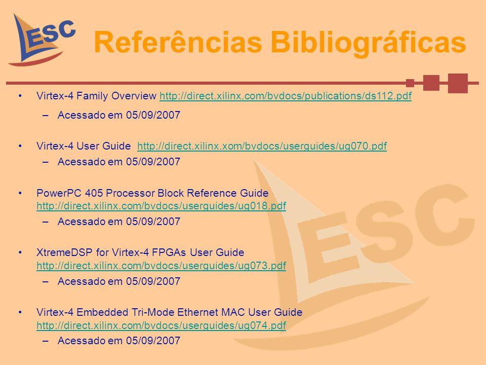 Referências Bibliográficas Virtex-4 Family Overview http://direct.xilinx.com/bvdocs/publications/ds112.pdfhttp://direct.xilinx.com/bvdocs/publications