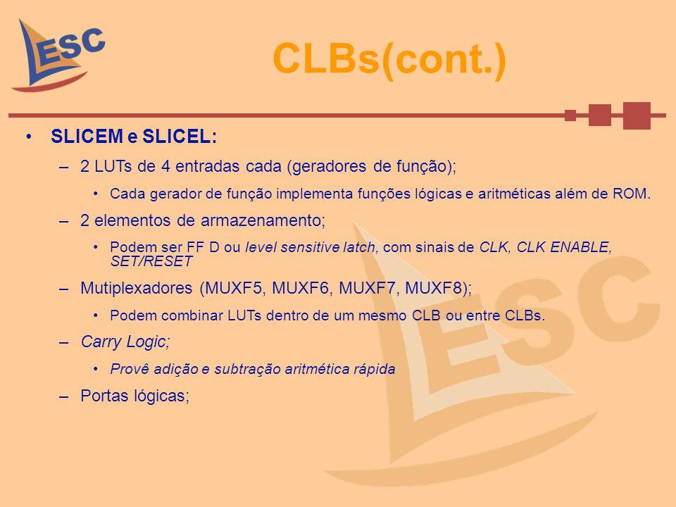 CLBs(cont.) SLICEM e SLICEL: –2 LUTs de 4 entradas cada (geradores de função); Cada gerador de função implementa funções lógicas e aritméticas além de