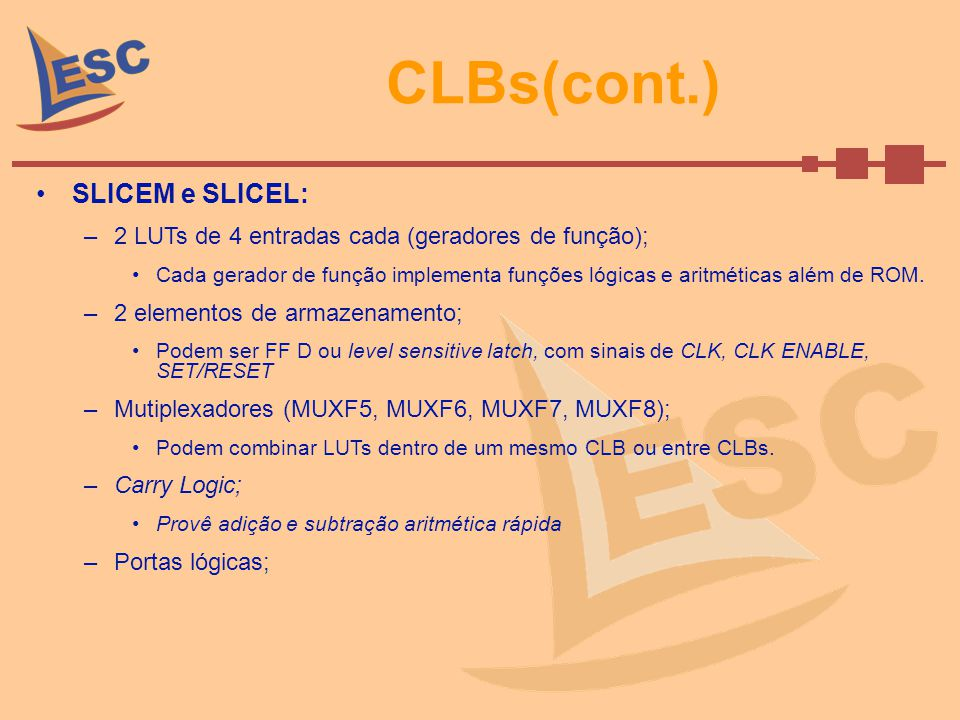 CLBs(cont.) SLICEM : –Armazena dados usando RAM distribuída; LUTs combinados para armazenar dados.