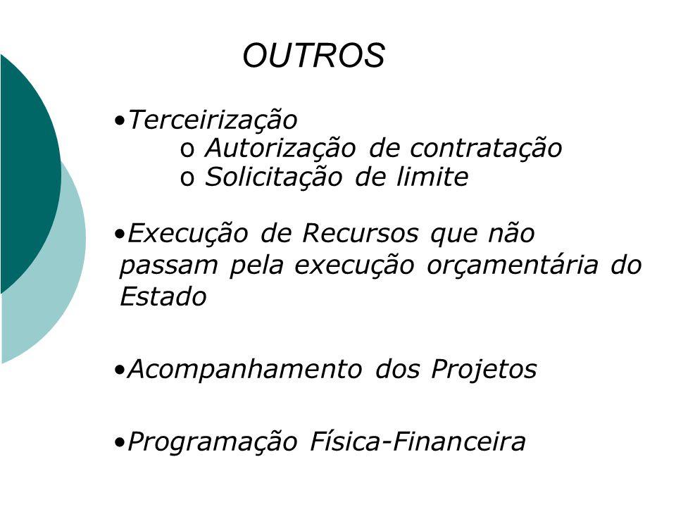 OUTROS Terceirização oAutorização de contratação oSolicitação de limite Execução de Recursos que não passam pela execução orçamentária do Estado Acomp