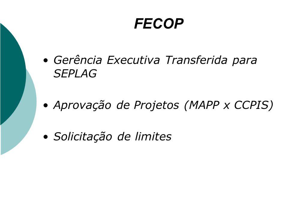 FECOP Gerência Executiva Transferida para SEPLAG Aprovação de Projetos (MAPP x CCPIS) Solicitação de limites