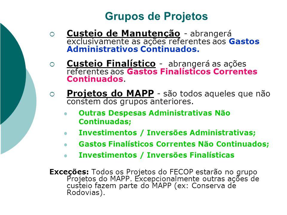 Grupos de Projetos Custeio de Manutenção - abrangerá exclusivamente as ações referentes aos Gastos Administrativos Continuados. Custeio Finalístico -