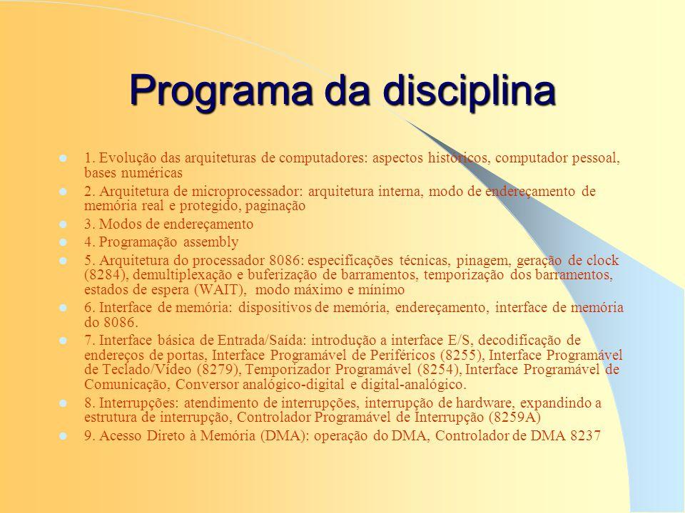 Programa da disciplina 1. Evolução das arquiteturas de computadores: aspectos históricos, computador pessoal, bases numéricas 2. Arquitetura de microp