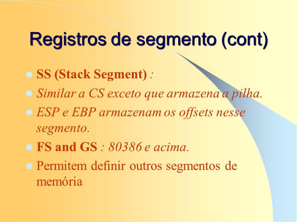 Registros de segmento (cont) SS (Stack Segment) : Similar a CS exceto que armazena a pilha. ESP e EBP armazenam os offsets nesse segmento. FS and GS :