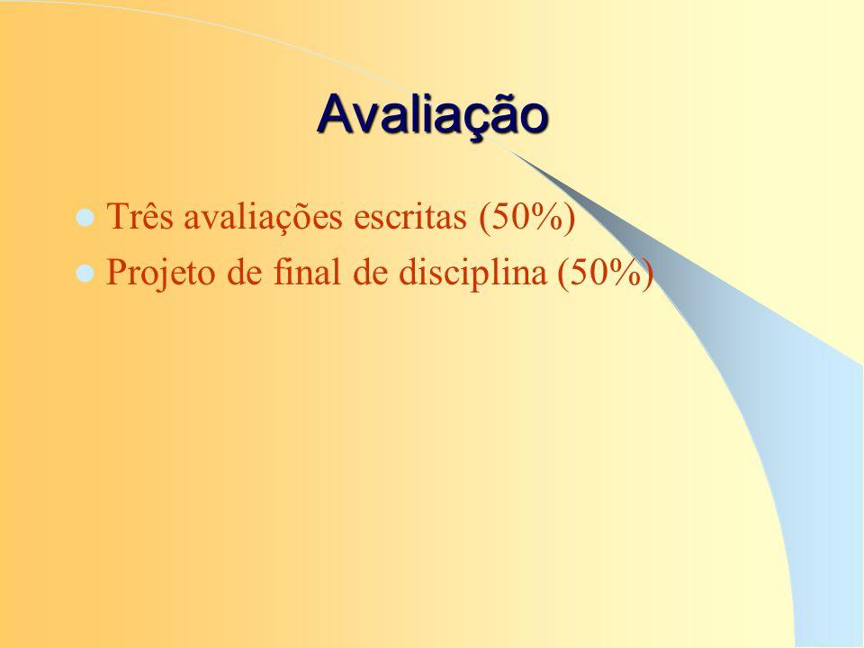 Avaliação Três avaliações escritas (50%) Projeto de final de disciplina (50%)
