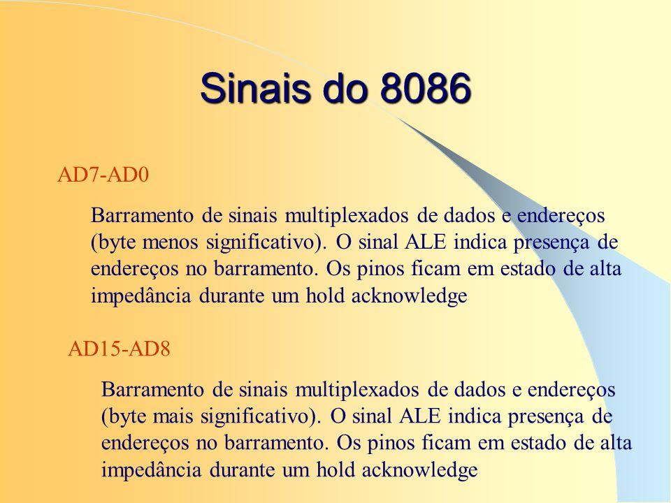 Sinais do 8086 AD7-AD0 Barramento de sinais multiplexados de dados e endereços (byte menos significativo). O sinal ALE indica presença de endereços no