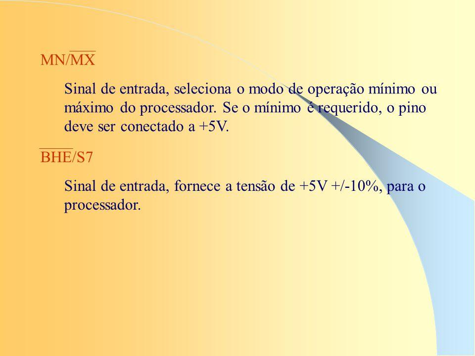 MN/MX Sinal de entrada, seleciona o modo de operação mínimo ou máximo do processador. Se o mínimo é requerido, o pino deve ser conectado a +5V. BHE/S7