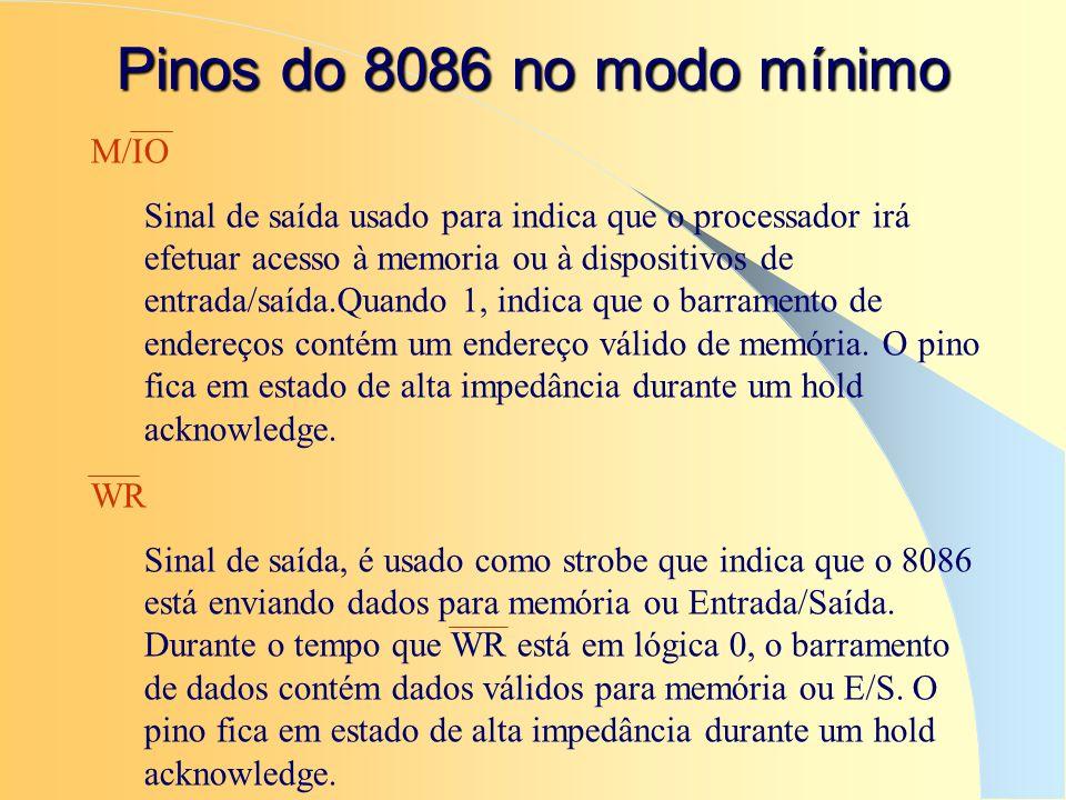 Pinos do 8086 no modo mínimo M/IO Sinal de saída usado para indica que o processador irá efetuar acesso à memoria ou à dispositivos de entrada/saída.Q