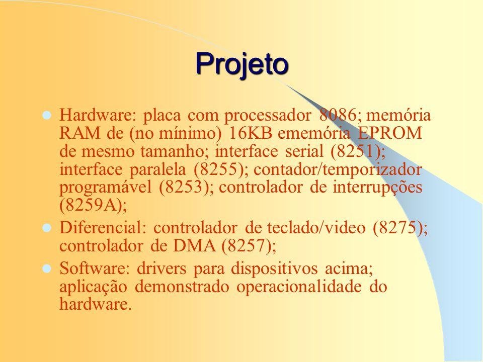 Projeto Hardware: placa com processador 8086; memória RAM de (no mínimo) 16KB ememória EPROM de mesmo tamanho; interface serial (8251); interface para