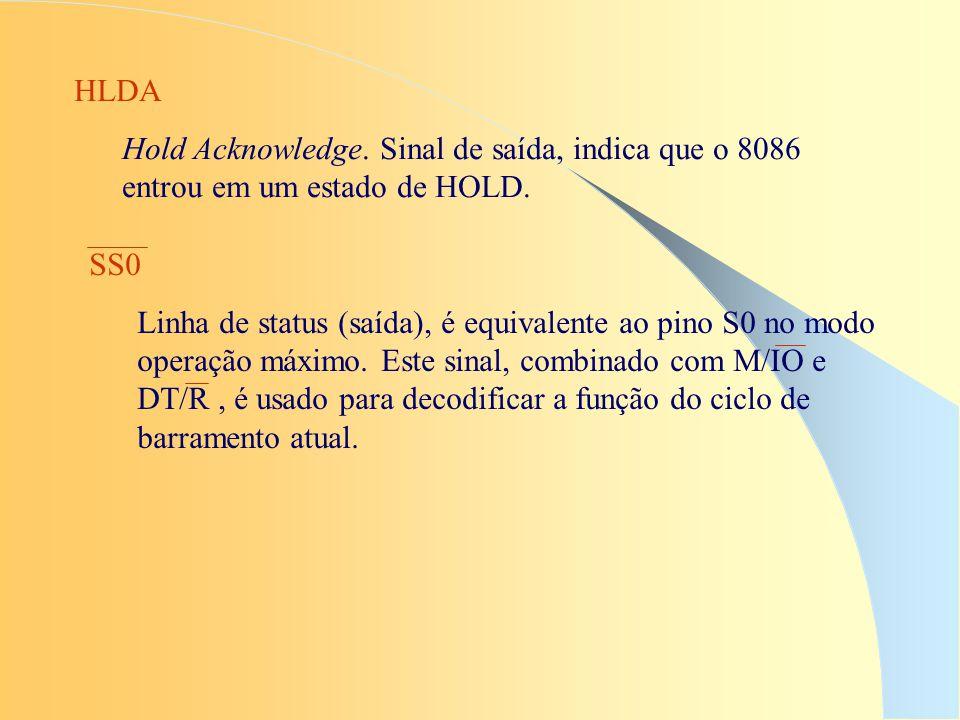 HLDA Hold Acknowledge. Sinal de saída, indica que o 8086 entrou em um estado de HOLD. SS0 Linha de status (saída), é equivalente ao pino S0 no modo op
