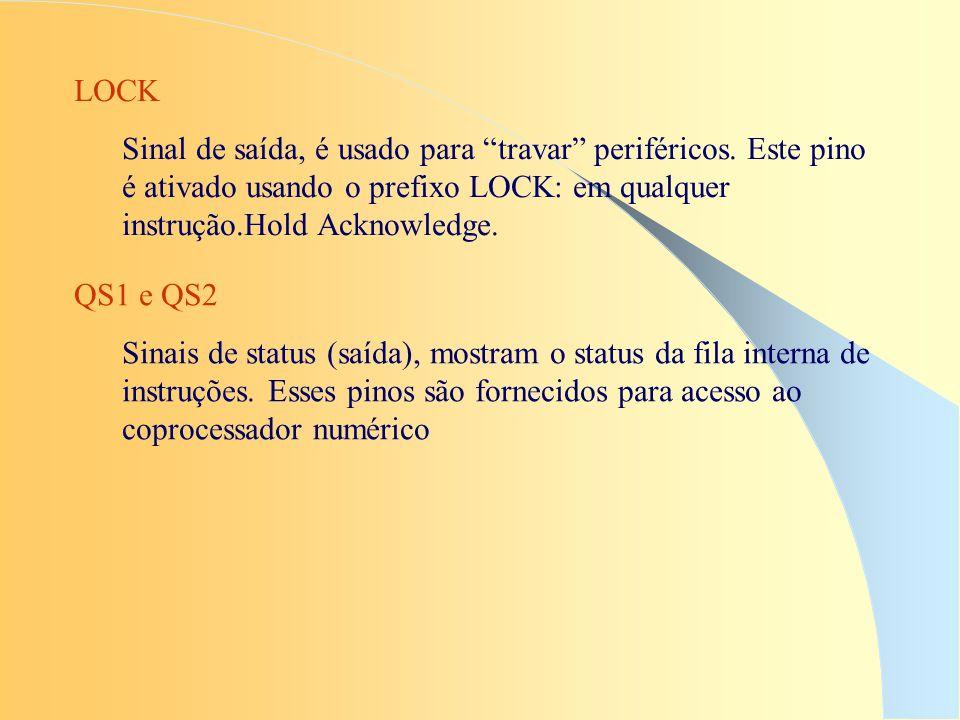 LOCK Sinal de saída, é usado para travar periféricos. Este pino é ativado usando o prefixo LOCK: em qualquer instrução.Hold Acknowledge. QS1 e QS2 Sin