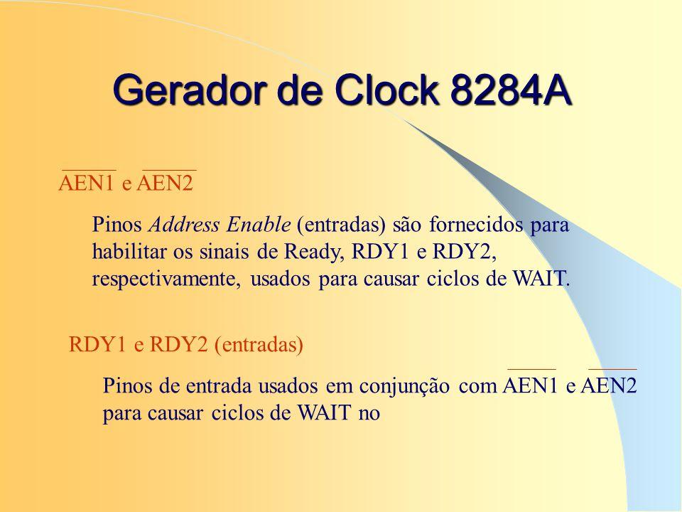 Gerador de Clock 8284A AEN1 e AEN2 Pinos Address Enable (entradas) são fornecidos para habilitar os sinais de Ready, RDY1 e RDY2, respectivamente, usa