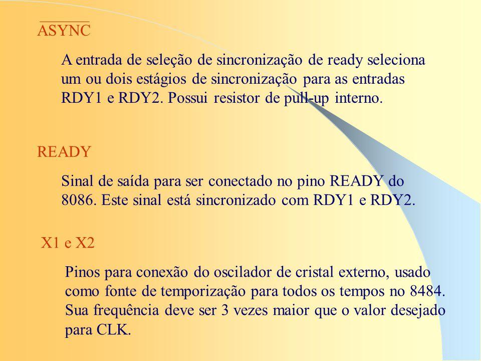 X1 e X2 Pinos para conexão do oscilador de cristal externo, usado como fonte de temporização para todos os tempos no 8484. Sua frequência deve ser 3 v