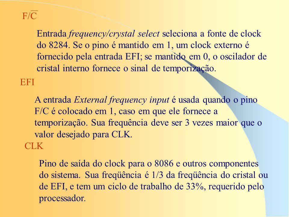 CLK Pino de saída do clock para o 8086 e outros componentes do sistema. Sua freqüência é 1/3 da freqüência do cristal ou de EFI, e tem um ciclo de tra