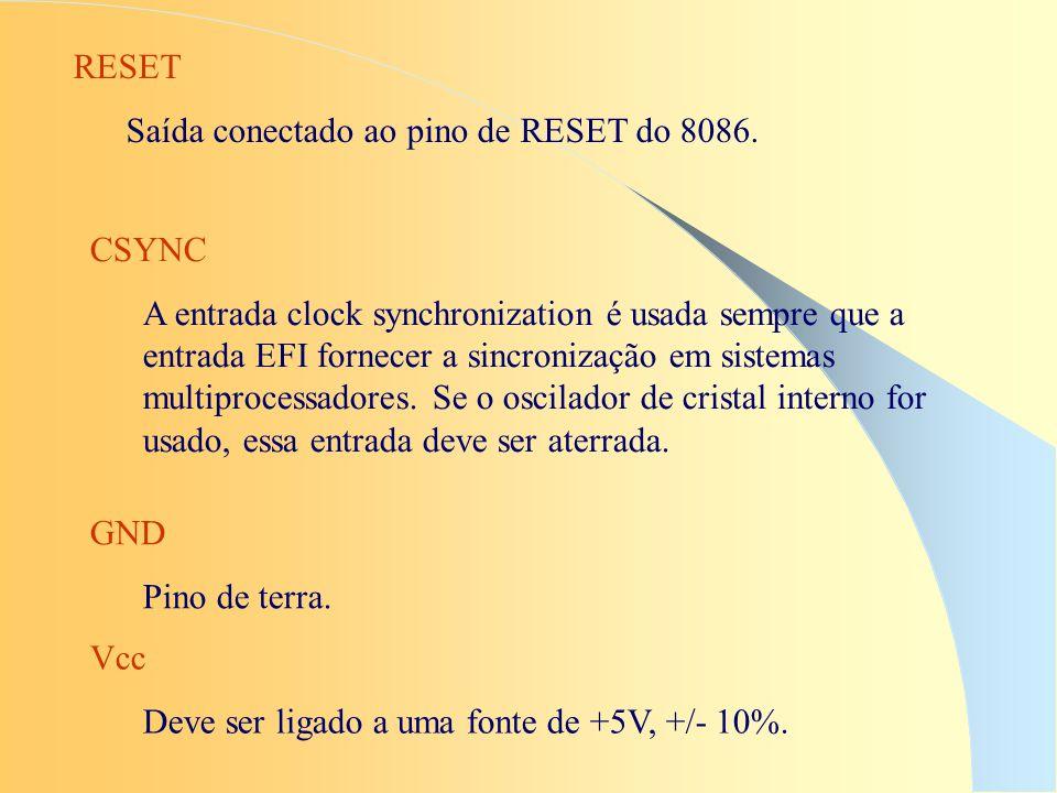 GND Pino de terra. RESET Saída conectado ao pino de RESET do 8086. CSYNC A entrada clock synchronization é usada sempre que a entrada EFI fornecer a s