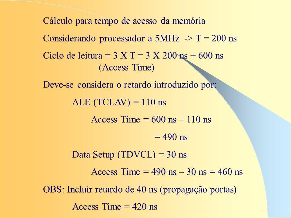 Cálculo para tempo de acesso da memória Considerando processador a 5MHz -> T = 200 ns Ciclo de leitura = 3 X T = 3 X 200 ns + 600 ns (Access Time) Dev