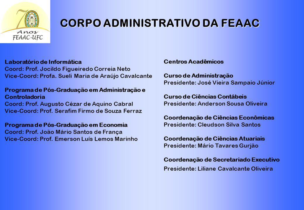 CORPO ADMINISTRATIVO DA FEAAC Diretoria Diretora: Profa. Maria Naiula Monteiro Pessoa Vice-Diretor: Prof. Augusto Cezar de Aquino Cabral Departamento