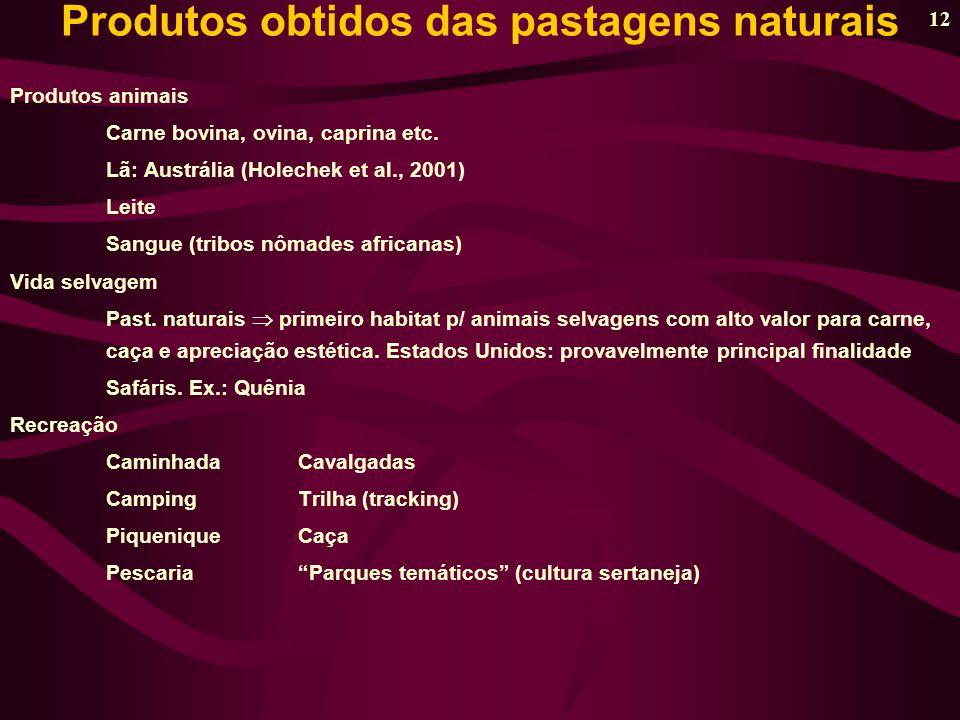 12 Produtos animais Carne bovina, ovina, caprina etc.
