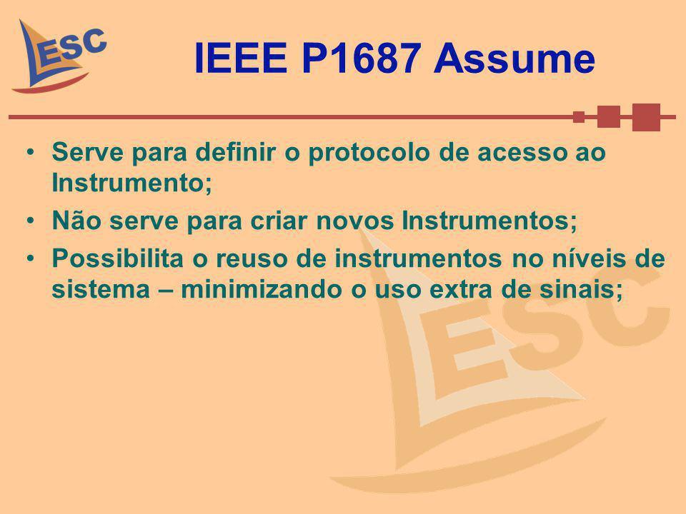 IEEE P1687 Assume Serve para definir o protocolo de acesso ao Instrumento; Não serve para criar novos Instrumentos; Possibilita o reuso de instrumento