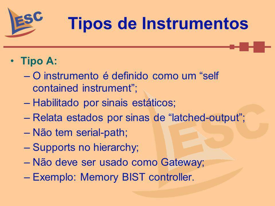 Tipos de Instrumentos Tipo A: –O instrumento é definido como um self contained instrument; –Habilitado por sinais estáticos; –Relata estados por sinas