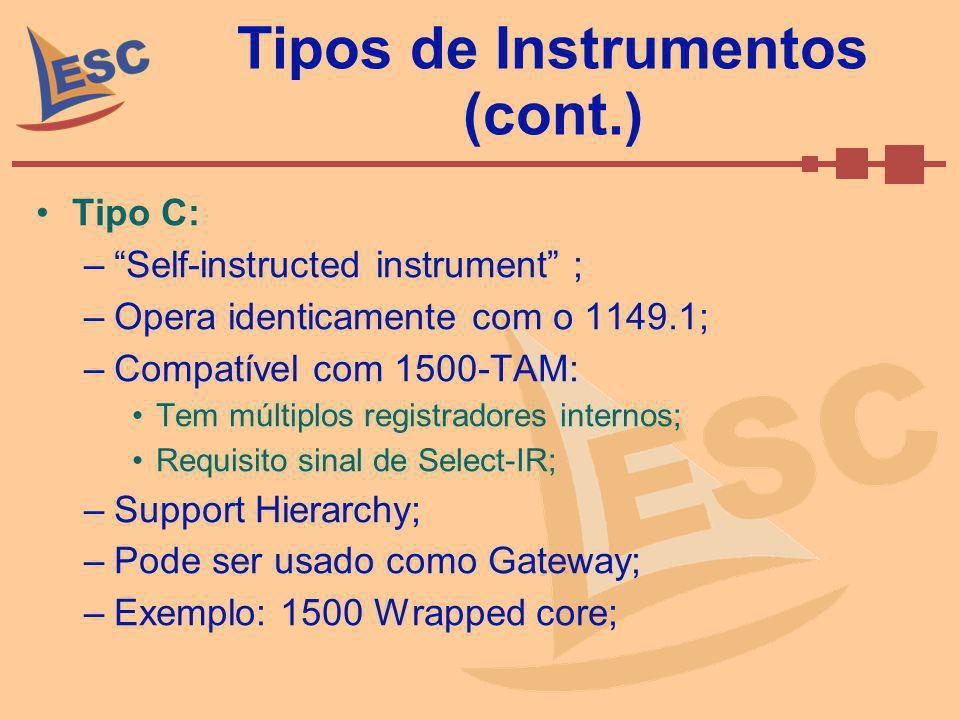 Tipos de Instrumentos (cont.) Tipo C: –Self-instructed instrument ; –Opera identicamente com o 1149.1; –Compatível com 1500-TAM: Tem múltiplos registr