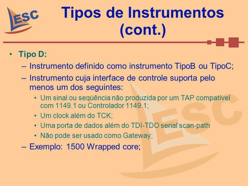 Tipos de Instrumentos (cont.) Tipo D: –Instrumento definido como instrumento TipoB ou TipoC; –Instrumento cuja interface de controle suporta pelo meno