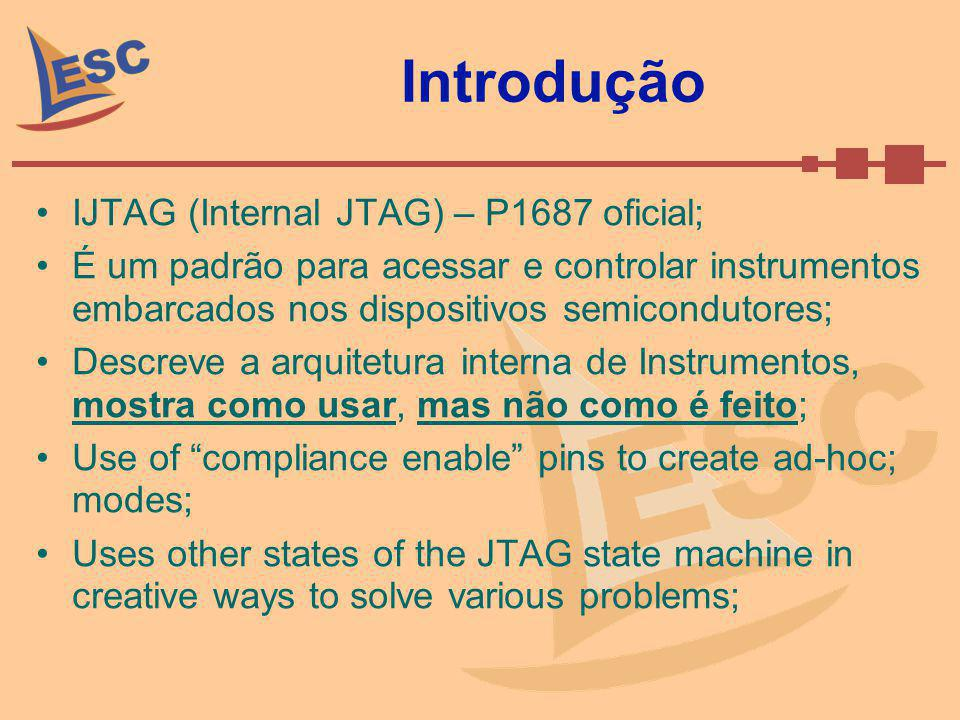 Tipos de Instrumentos (cont.) Tipo D: –Instrumento definido como instrumento TipoB ou TipoC; –Instrumento cuja interface de controle suporta pelo menos um dos seguintes: Um sinal ou seqüência não produzida por um TAP compatível com 1149.1 ou Controlador 1149.1; Um clock além do TCK; Uma porta de dados além do TDI-TDO serial scan-path Não pode ser usado como Gateway; –Exemplo: 1500 Wrapped core;