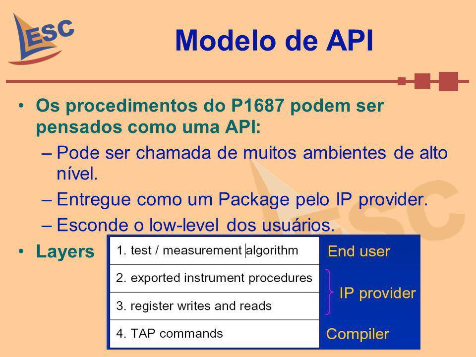 Tipos de Instrumentos Tipo A: –O instrumento é definido como um self contained instrument; –Habilitado por sinais estáticos; –Relata estados por sinas de latched-output; –Não tem serial-path; –Supports no hierarchy; –Não deve ser usado como Gateway; –Exemplo: Memory BIST controller.