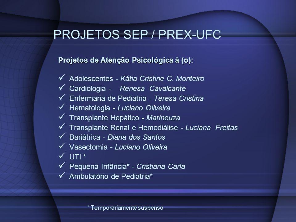 PROJETOS SEP / PREX-UFC Projetos de Atenção Psicológica à (o): Adolescentes - Kátia Cristine C. Monteiro Cardiologia - Renesa Cavalcante Enfermaria de