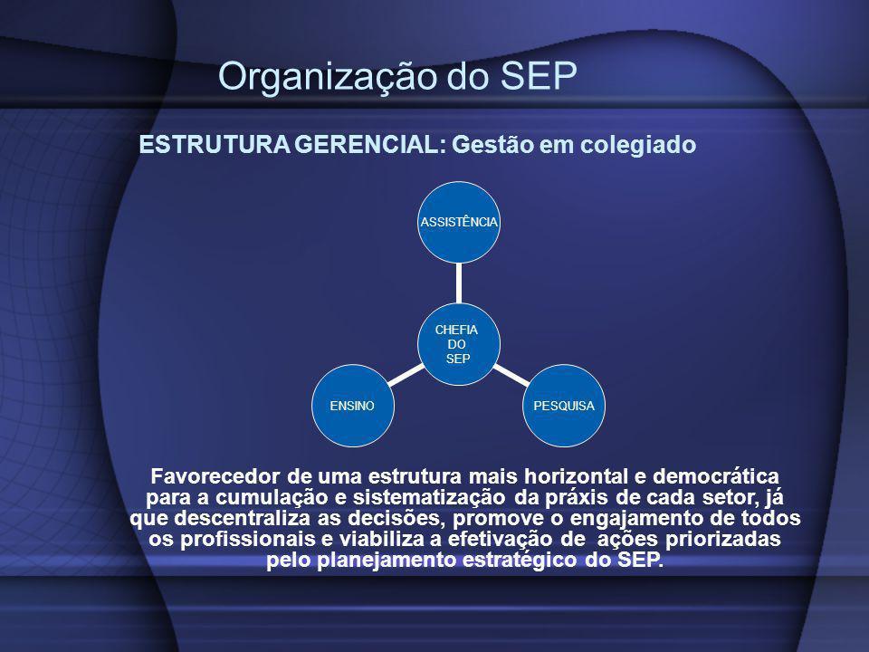 Organização do SEP CHEFIA DO SEP ASSISTÊNCIAPESQUISAENSINO ESTRUTURA GERENCIAL: Gestão em colegiado Favorecedor de uma estrutura mais horizontal e dem