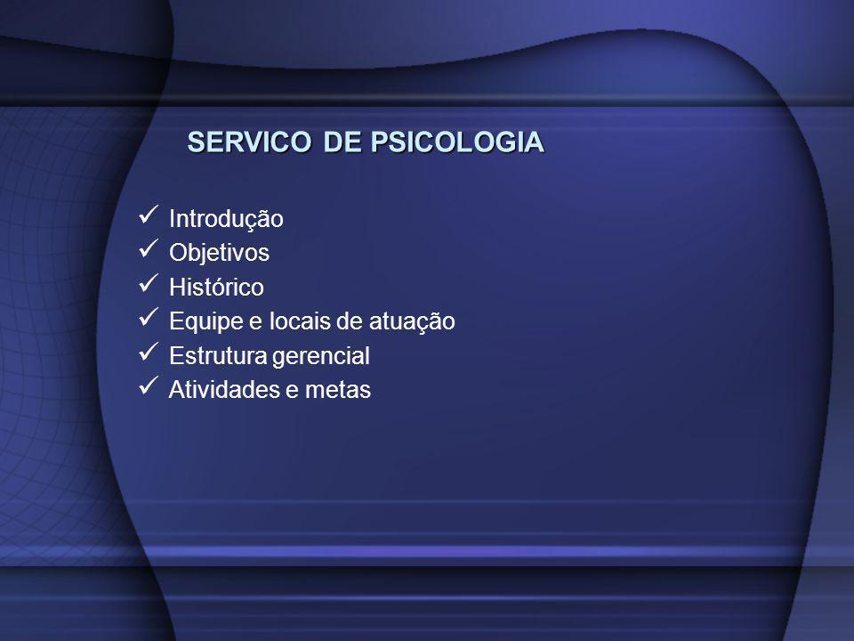 SERVICO DE PSICOLOGIA Introdução Objetivos Histórico Equipe e locais de atuação Estrutura gerencial Atividades e metas