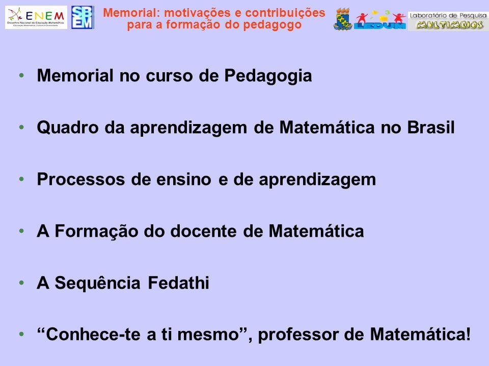 Memorial: motivações e contribuições para a formação do pedagogo Memorial no curso de Pedagogia Quadro da aprendizagem de Matemática no Brasil Process