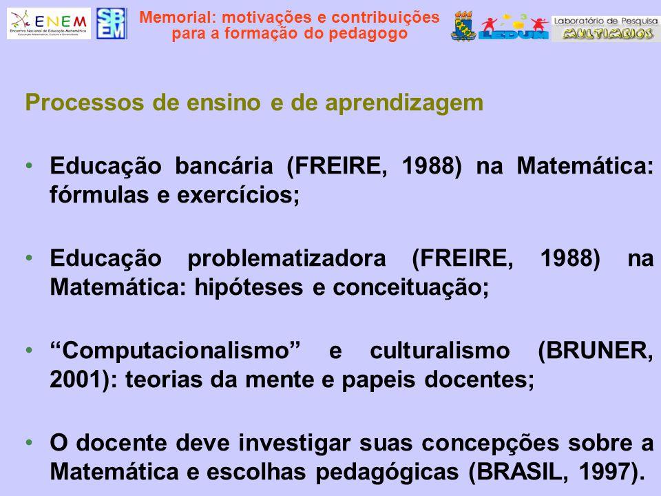Memorial: motivações e contribuições para a formação do pedagogo Processos de ensino e de aprendizagem Educação bancária (FREIRE, 1988) na Matemática: