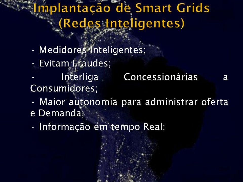 Medidores Inteligentes; Evitam Fraudes; Interliga Concessionárias a Consumidores; Maior autonomia para administrar oferta e Demanda; Informação em tem