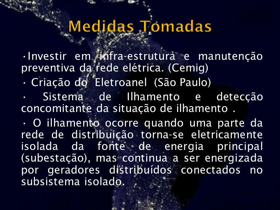Investir em infra-estrutura e manutenção preventiva da rede elétrica. (Cemig) Criação do Eletroanel (São Paulo) Sistema de Ilhamento e detecção concom