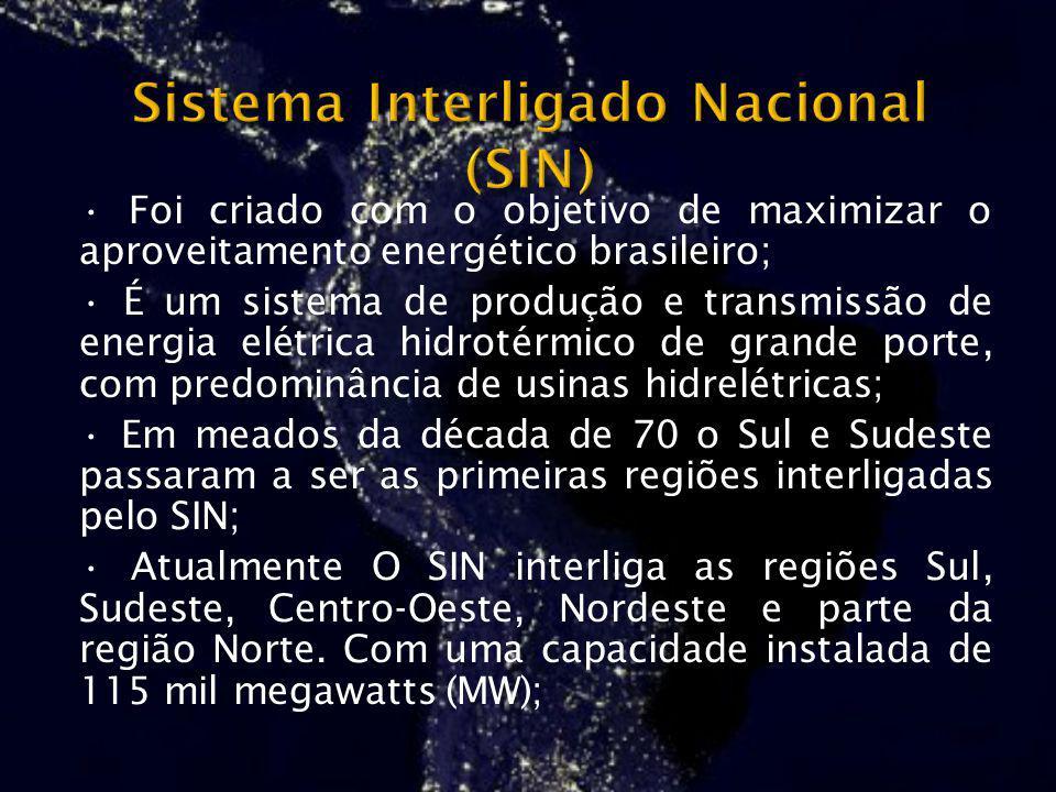Foi criado com o objetivo de maximizar o aproveitamento energético brasileiro; É um sistema de produção e transmissão de energia elétrica hidrotérmico