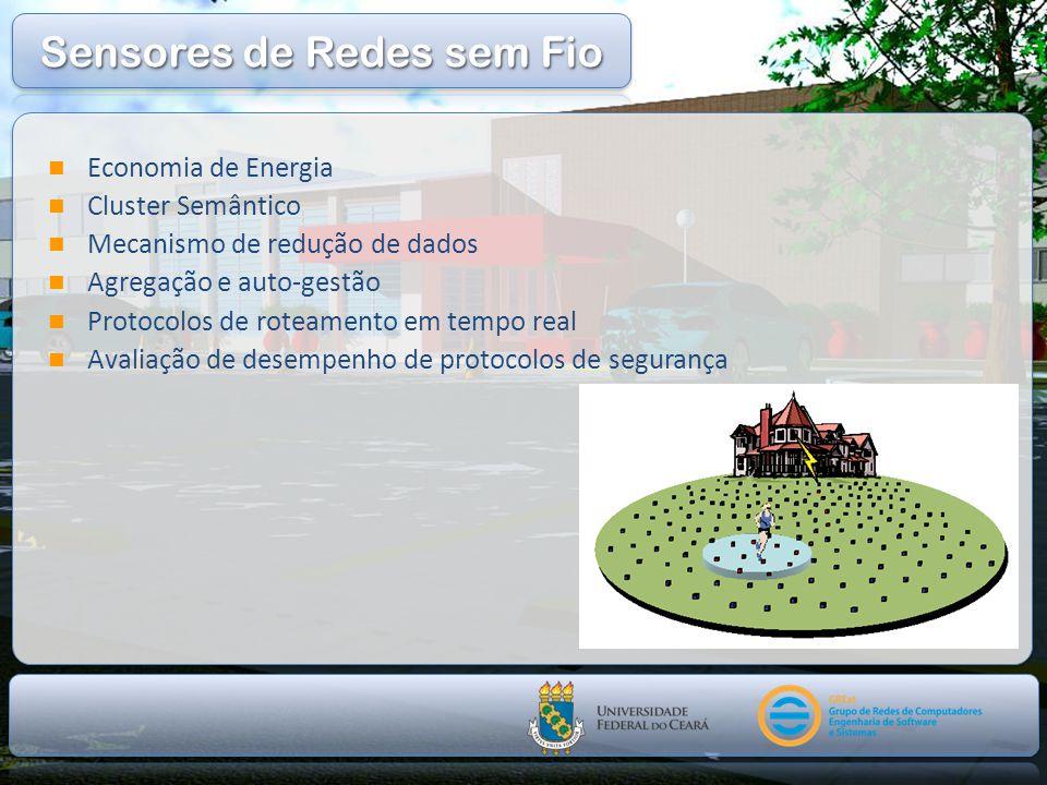 Economia de Energia Cluster Semântico Mecanismo de redução de dados Agregação e auto-gestão Protocolos de roteamento em tempo real Avaliação de desemp