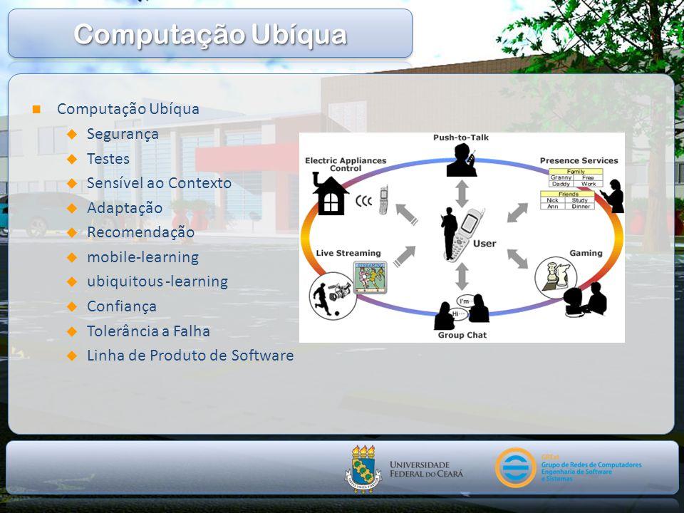 Computação Ubíqua Segurança Testes Sensível ao Contexto Adaptação Recomendação mobile-learning ubiquitous -learning Confiança Tolerância a Falha Linha