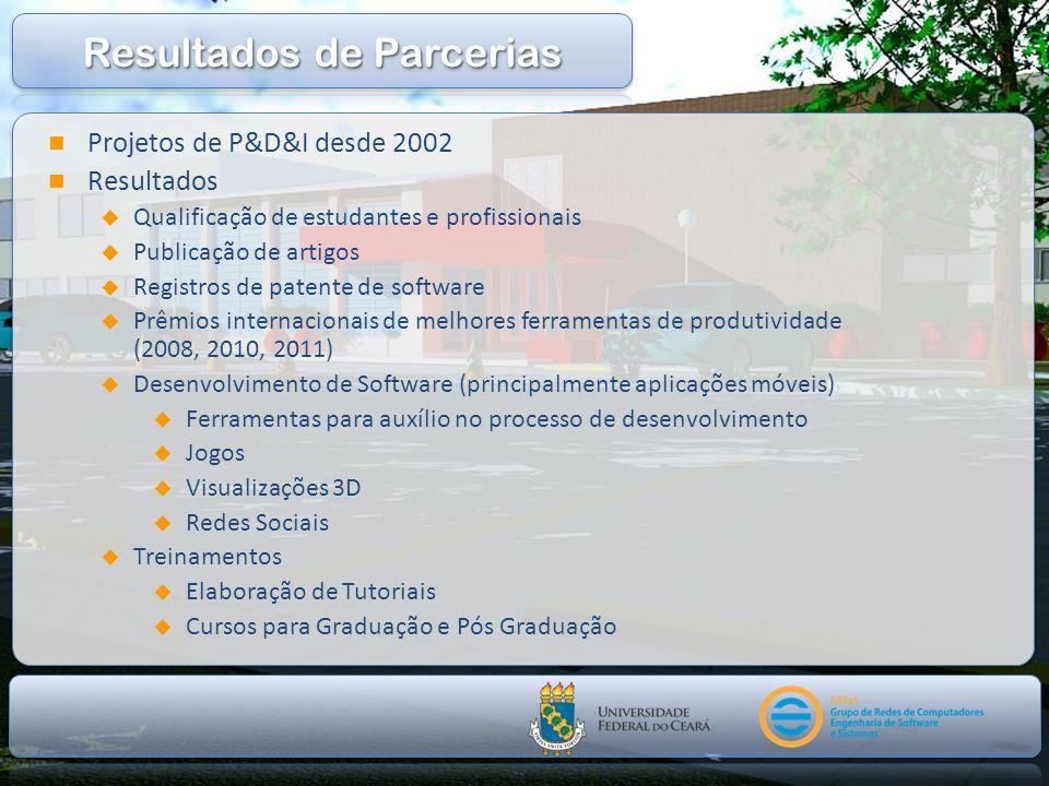 Projetos de P&D&I desde 2002 Resultados Qualificação de estudantes e profissionais Publicação de artigos Registros de patente de software Prêmios inte