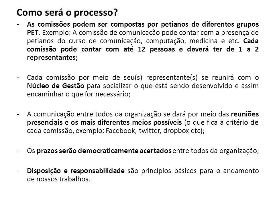 Como será o processo? -As comissões podem ser compostas por petianos de diferentes grupos PET. Exemplo: A comissão de comunicação pode contar com a pr
