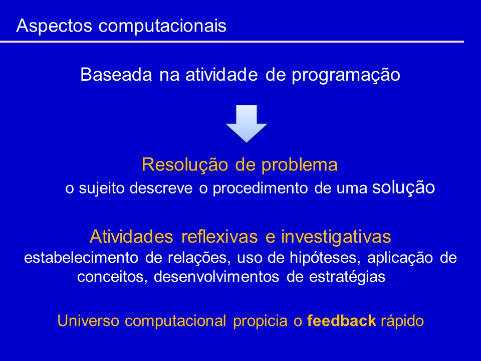 Aspectos computacionais Resolução de problema o sujeito descreve o procedimento de uma solução Atividades reflexivas e investigativas estabelecimento de relações, uso de hipóteses, aplicação de conceitos, desenvolvimentos de estratégias....